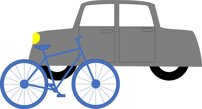 Lateral Thinking Bicycle and car